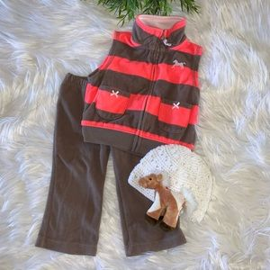 Carters Striped Fleece Horse Set 12M